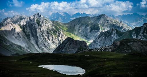 4K, Time Lapse, Epic View On Rocca La Meija Mountain Range, France - Neutral Ver Footage