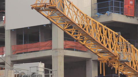 Yellow construction crane / close-up Footage