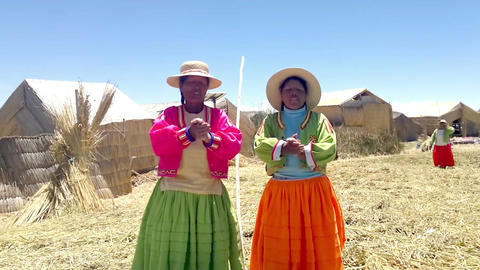 Local women on Lake Titicaca singing in native language, Uros Islands, Lake Titi Footage
