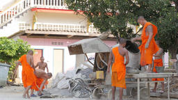 Monks doing construction work in temple,Bangkok,Thailand Footage
