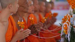 Monks praying holding rope,Vientiane,Laos Footage