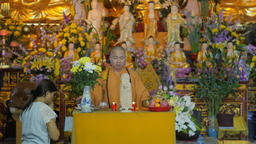 Priest at service in vietnamese temple,Vientiane,Laos Footage