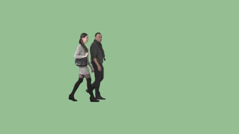 Male and young brunette woman are walking together on transparent background Footage