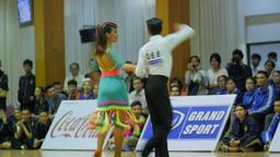 Thai couple dance Cha-Cha-Cha at contest,Ubon Ratchathani,Thailand Footage