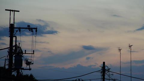 City sunset (general purpose, utility poles, time-lapse Pan) Live Action