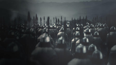 Viking Army Ready for War Under a Lightning Storm ビデオ