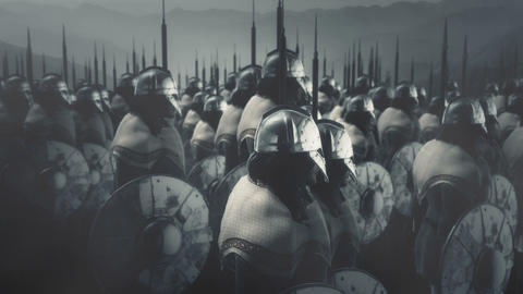 Large Army of Viking Warriors Going to War ビデオ