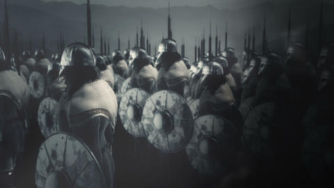 Viking Warriors Standing Under a Storm Ready for Battle Live Action