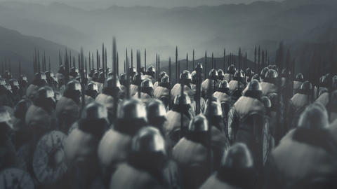 Big Army of Viking Warriors ready for Battle Live Action