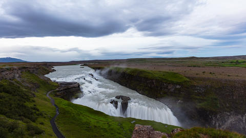 Iceland travel Gullfoss waterfall tourist attraction destination Icelandic Live Action