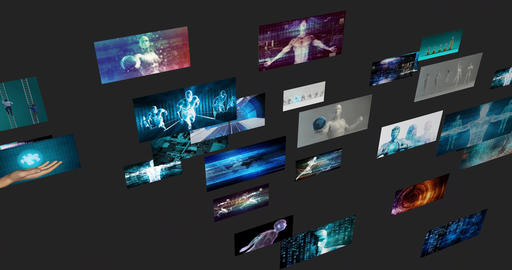 Digital Gallery Video Wall as a Futuristic Concept Live Action