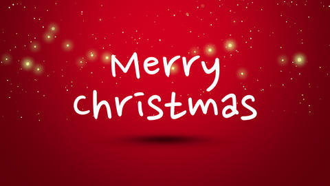 Animated closeup Merry Christmas text on red background CG動画