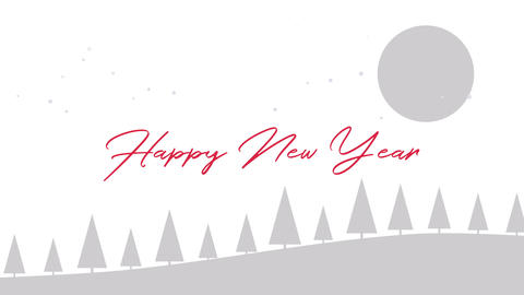 Animated close up Happy New Year text, Christmas trees and moon on white background CG動画