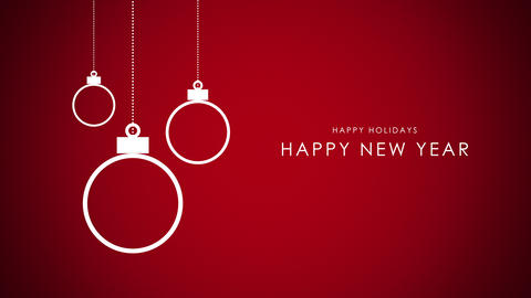 Animated closeup Happy New Year text, white balls on red background CG動画