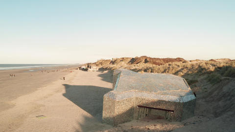 Dunkirk beach, blockhaus, sand dunes and people (Dunkerque, France) Live Action