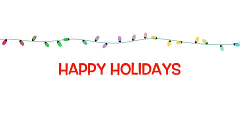 Animated closeup Happy Holidays text, colorful garland on white background CG動画
