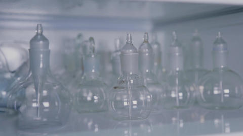 Glass test tubes in a science laboratory Live Action