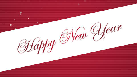 Animated closeup Happy New Year text on red background CG動画