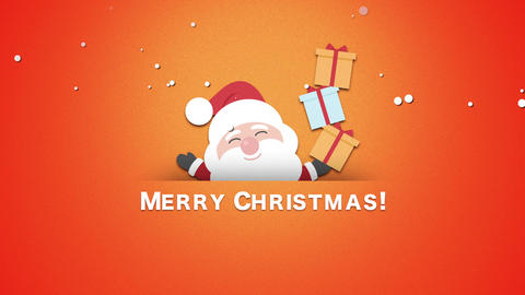 Animated closeup Merry Christmas text, Santa Claus with gift boxes CG動画
