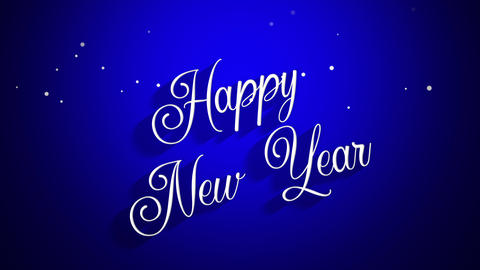 Animated closeup Happy New Year text on blue background Videos animados