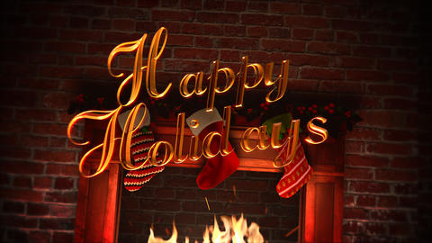 Animated closeup fireplace, gifts in the Christmas socks and Happy Holidays text on bricks Videos animados