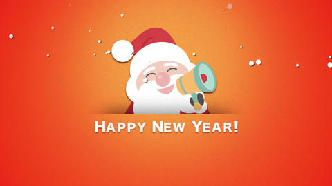 Animated closeup Happy New Year text, and Santa Claus Videos animados