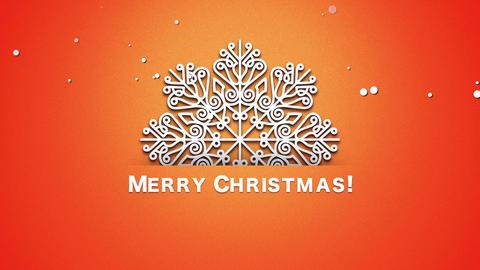 Animated closeup Merry Christmas text, white snowflakes on orange background Animation
