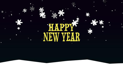 Animated closeup Happy New Year text on snow background Animation