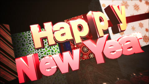 Animated closeup Happy New Year text, gift boxes in room, wood background Animation