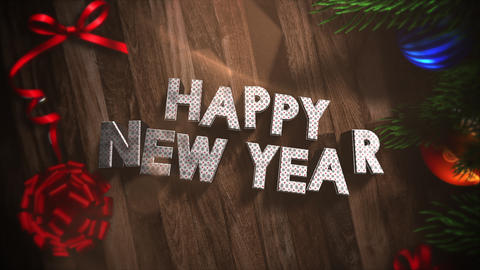 Animated closeup Happy New Year text, gift boxes and green tree branches with balls on wood Animation