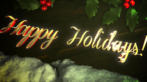Animated closeup Happy Holidays text, white snow and green Christmas branch on wood background Animation