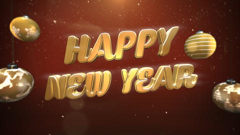 Animated closeup Happy New Year text, white snowflakes and gold balls on retro background Animation