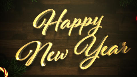 Animated closeup Happy New Year text, colorful garland and Christmas green tree branches on wood Animation