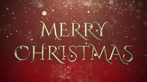 White snowflake falling and animated closeup Merry Christmas text on shiny red background Videos animados