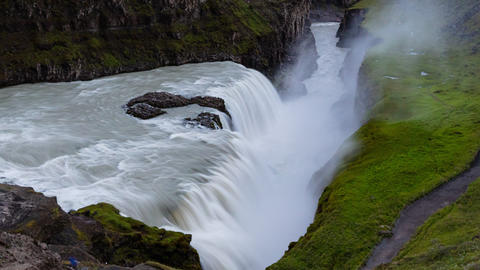 Waterfall in Iceland - Waterfall Gullfoss travel tourist attraction destination Footage