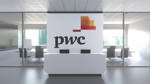 Logo of PWC on a wall in the modern office, editorial conceptual 3D animation Live Action