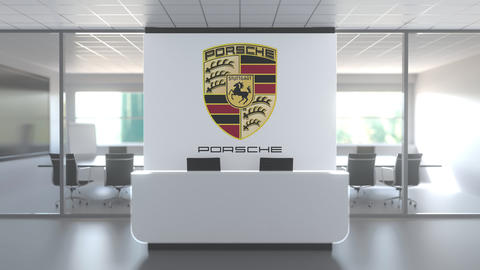 Logo of PORSCHE on a wall in the modern office, editorial conceptual 3D Live Action