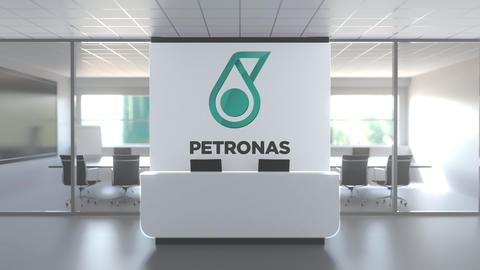 Logo of PETRONAS on a wall in the modern office, editorial conceptual 3D Live Action