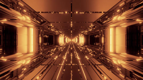 cool futuristic space scifi hangar tunnel corridor with nice reflections 3d Animation