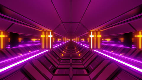 cool futuristic space scifi hangar tunnel corridor with holy glowing christian Animation