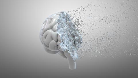 Total disintegration of a human brain. Mental health disorder related conceptual Live Action