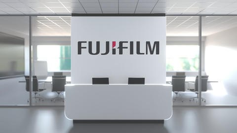 Logo of FUJIFILM on a wall in the modern office, editorial conceptual 3D Live Action