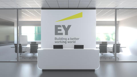 Logo of EY on a wall in the modern office, editorial conceptual 3D animation Live Action
