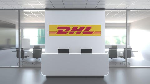 Logo of DHL on a wall in the modern office, editorial conceptual 3D animation Live Action