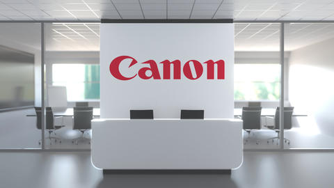 CANON logo above reception desk in the modern office, editorial conceptual 3D Live Action