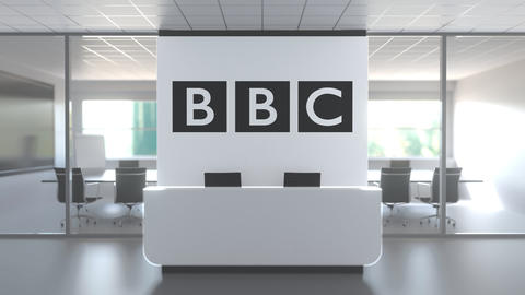 BBC logo above reception desk in the modern office, editorial conceptual 3D Live Action