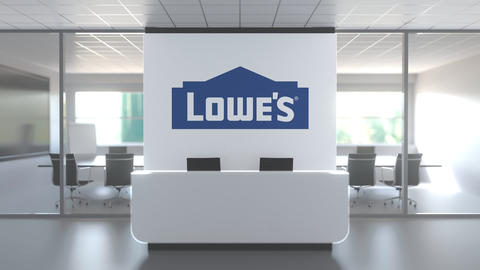 Logo of LOWES on a wall in the modern office, editorial conceptual 3D animation Live Action