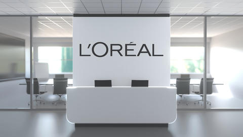 Logo of L'OREAL on a wall in the modern office, editorial conceptual 3D Live Action
