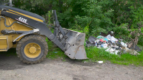 Volunteers on special equipment remove garbage in nature 002 Footage