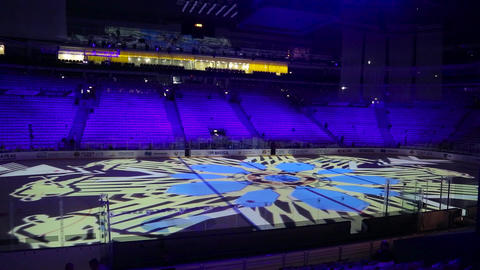 Light show on the ice arena 001 Live Action